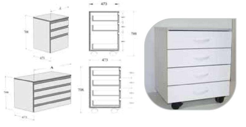 meuble 4 tiroirs 45cm